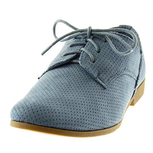 Tacco Scarpe Blocco cm a Donna Scarpa Angkorly Perforato Moda 2 Blu Derby TFdwYfq