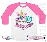 100 days of school Personalized Unicorn Shirt Girl Pink Raglan Shirt Gift for Girl