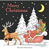 Merry Christmas A Beautiful Colouring Book With Designs On Black Background For