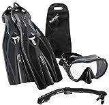 SEAC Frameless Scuba Mask Fin Snorkel Set, Black, Small/Medium