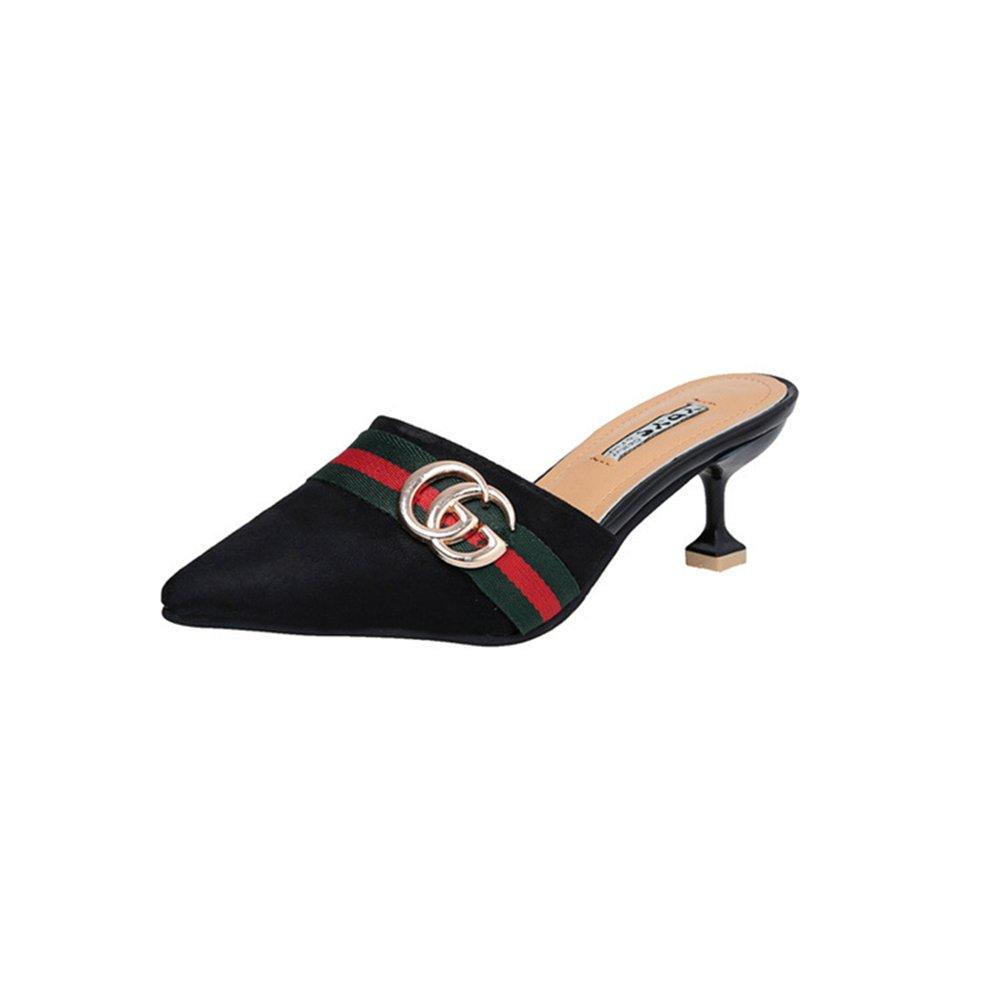 Pointed Toe Bow Kitten Heel Mule Pump Slip on Slide Shoes B07DN75QMN 37/6.5 B(M) US Women Black-1