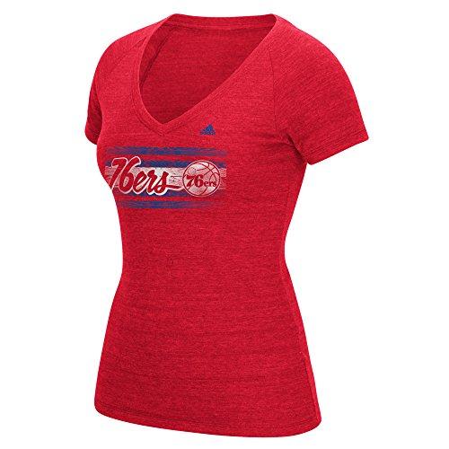 fan products of NBA Philadelphia 76ers Women's Woodgrain Stripe Tri-Blend V-Neck Tee, Large, Red