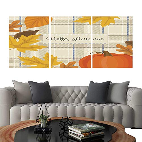 UHOO Prints Wall Art PaintingsAutumn Season Background with Pumpkin Yellow Leaves and Plaid Fabric Customizable Wall Stickers 16