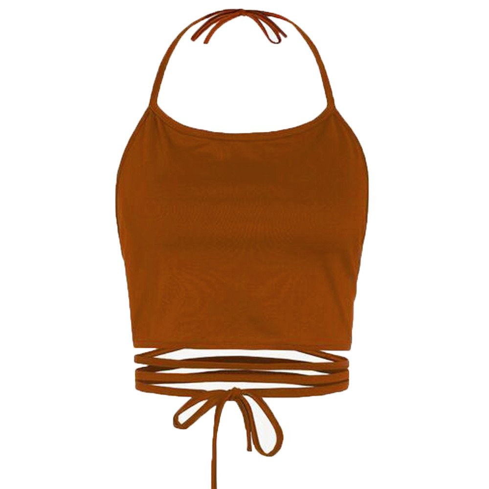 TWinmar -Women Summer Halter Cross Hollow Boho Bandage Tank Camis Sleeveless Backless Vest Crop Top T-Shirt Khaki