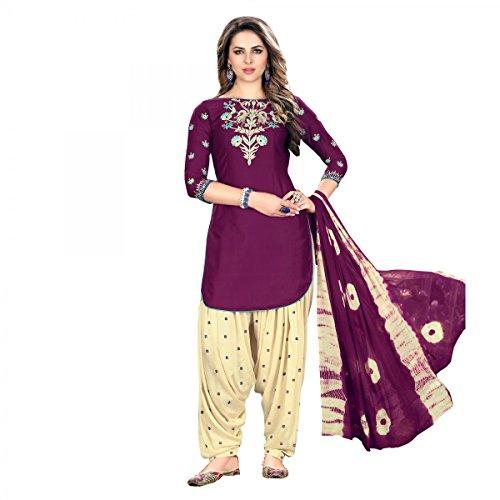 Patiala Salwar Embroidered Cotton Salwar Kameez Suit India/Pakistani Dress (Purple, - Salwar Cotton Suit