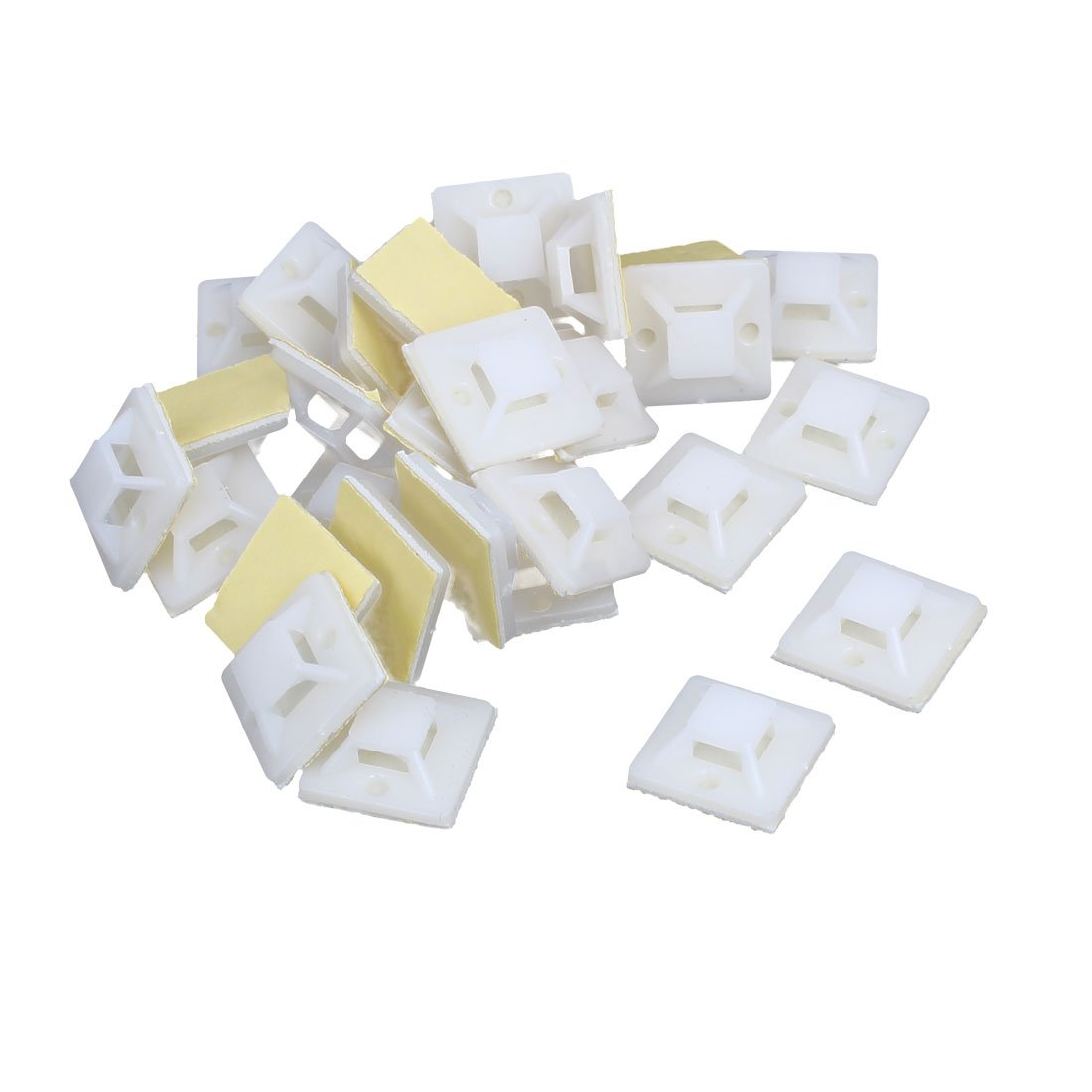 sourcing map PA66 Square Self-Adhesive Fixed Cable Lines Tie Base 20mm Width 30pcs White