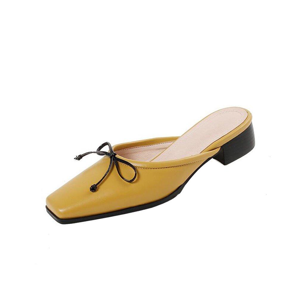 Schuhe, Baotou, Back Air, Damen, Hausschuhe, Square Head, Lässig, Dick Low Heels, Leder Damenschuhe