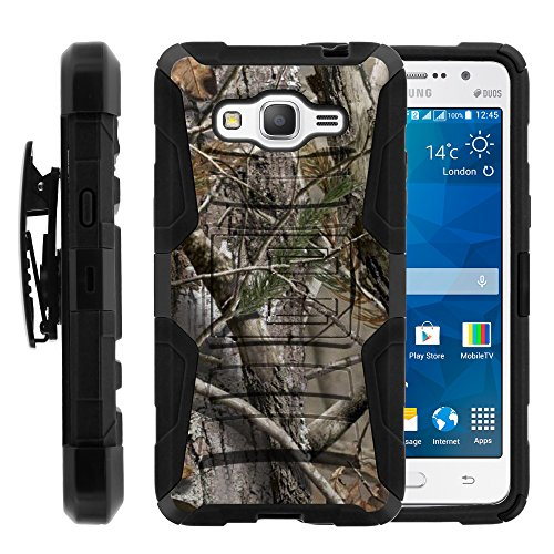 Galaxy Grand Prime Case, Galaxy Grand Prime Holster, Two Layer Hybrid Armor Hard Cover with Built in Kickstand for Samsung Galaxy Grand Prime SM-G530H, SM-G530F (Cricket) from MINITURTLE | Includes Screen Protector - Tree Bark Hunter Camouflage