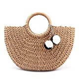 ANANXILA NEW Summer Pompon Beach Weaving Ladies Straw Bag Wrapped Beach Bag light brown small