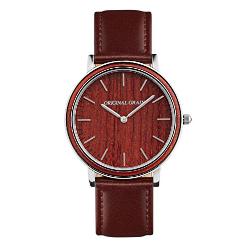 Original Grain Minimalist - Rosewood Mens Watch with Chrome Accents and Brown Leather Band