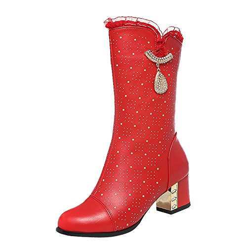 Latasa Womens Cute Lace Opening Chunky Heels Mid Calf Boots Red 2dcXzUBX