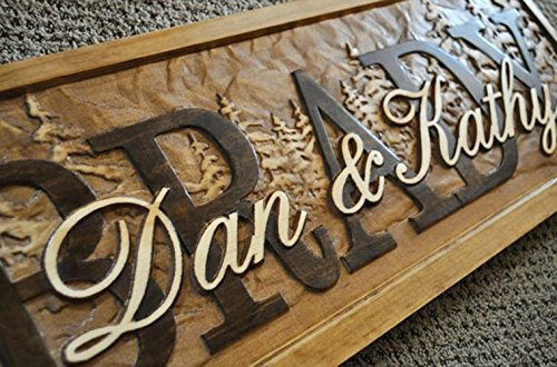 - Personalized Family Name Signs PINE TREE CARVED Custom Wood Sign Last name Wedding Gift rustic Established house warming personalized sign 5 year Pine Trees