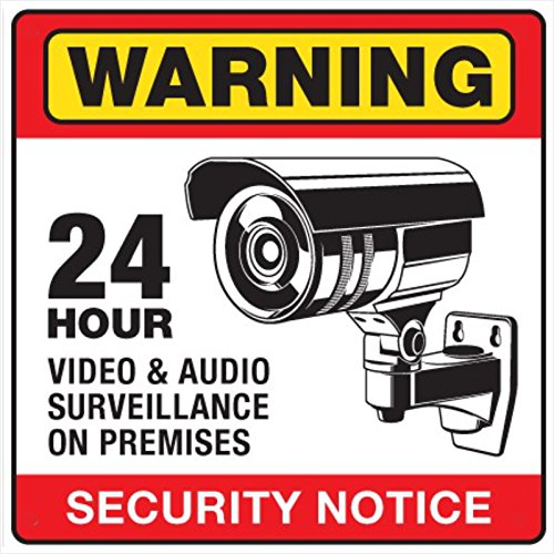 6 CCTV Video Surveillance Security Burglar Alarm Decal Warning Sticker Signs.