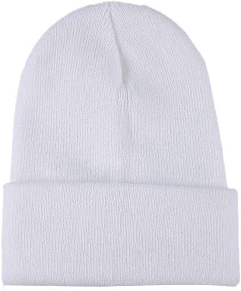 Knitted Beanie Hat for Women Winter Warm Hats Solid Color Fleece Lined Cotton Knit Slouchy Thick Skull Cap