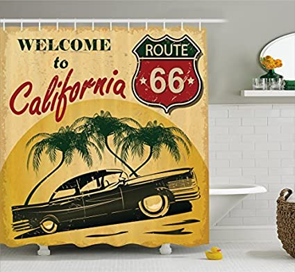 HOPSYOT Shower Curtain Colors Car Classic Retro Welcome To California Route 66