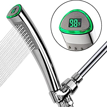 YOO.MEE LED Thermometer Handheld Shower Heads, Water Powered Light to Display Fahrenheit, Special for Skin Health, Child and Pet Shower, Shower Accessories w/ Hose, Bracket, Teflon Tape