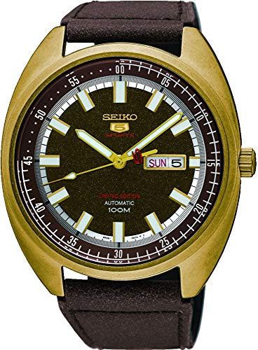 (Seiko 5 'Turtle' Sports 100M Automatic Limited Edition Gold Tone Calf Leather SRPB74K1)