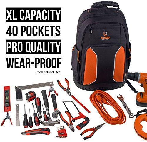Rugged Tools Pro Tool Backpack - 40 Pocket Heavy Duty Jobsite Tool...