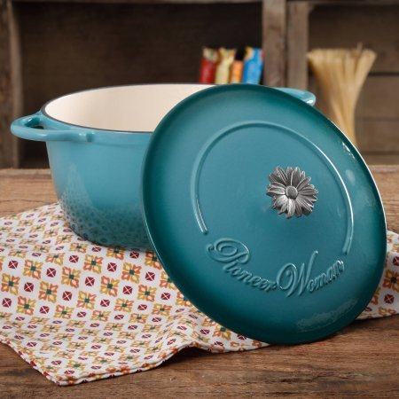 The Pioneer Woman Timeless Beauty Gradient 5-Quart Dutch Oven with Daisy and Bakelite Knob (Blue) (The Pioneer Woman Cast Iron Dutch Oven)