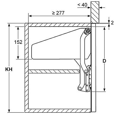 GedoTec Ascensore-tubo anteriore e raccordi Cerniera piatta Free up per all-in-one Ribalte legno Sollevare il raccordo per Altezza corpo mobile 380 500 mm Pieghevole peso 3,4 6,7 kg