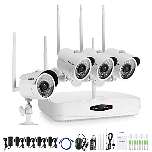 ANNKE Home Wireless Security Camera System 4-Channel 960P NVR Recorder and (4) 1.0MP Outdoor Wifi IP Cameras, NO HDD Included (Only support 2.5-Inch Internal Bare Drive) by ANNKE