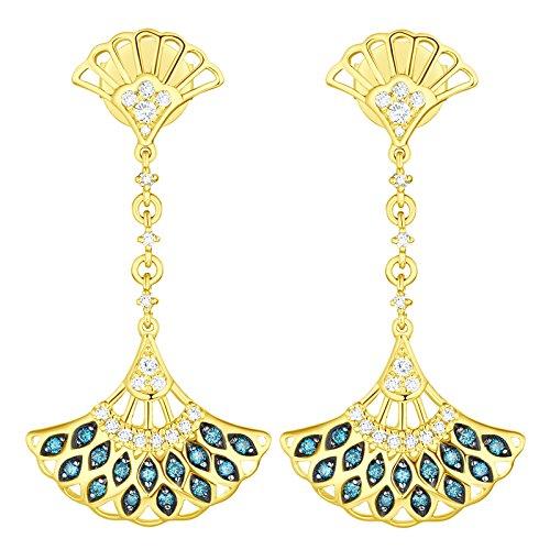 Prism Jewel 0.32Ct Blue/SI1 Diamond & Natural Diamond Hand Fan Style Drop Dangle Earrings, 14k Yellow Gold