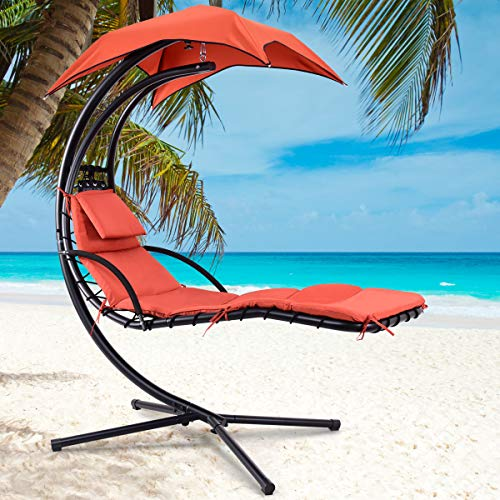 Giantex Hanging Chaise Lounger Chair Arc Stand Air Porch Swing Hammock Chair with Canopy Umbrella (Orange)
