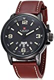 Fanmis Men's Unique Analog Quartz Classic Business Casual Waterproof Dress Wrist Fashion Watch with Brown Leather Band and Calendar Date Week Window - Black