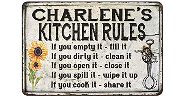 Amazon Com Charlene S Kitchen Rules Chic Sign Vintage Decor 8 X 12 Matte Finish Metal 108120032223 Furniture Decor
