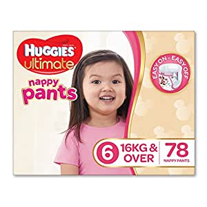 Huggies Ultimate Nappy Pants ,Girls, Size 6 Junior (16+kg), 78 Count