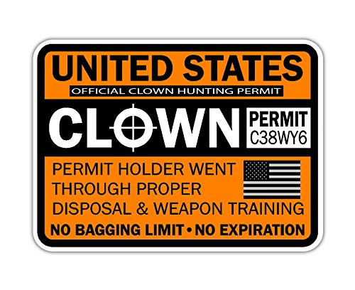 2016 Clown Hunting Permit Vinyl Sticker -