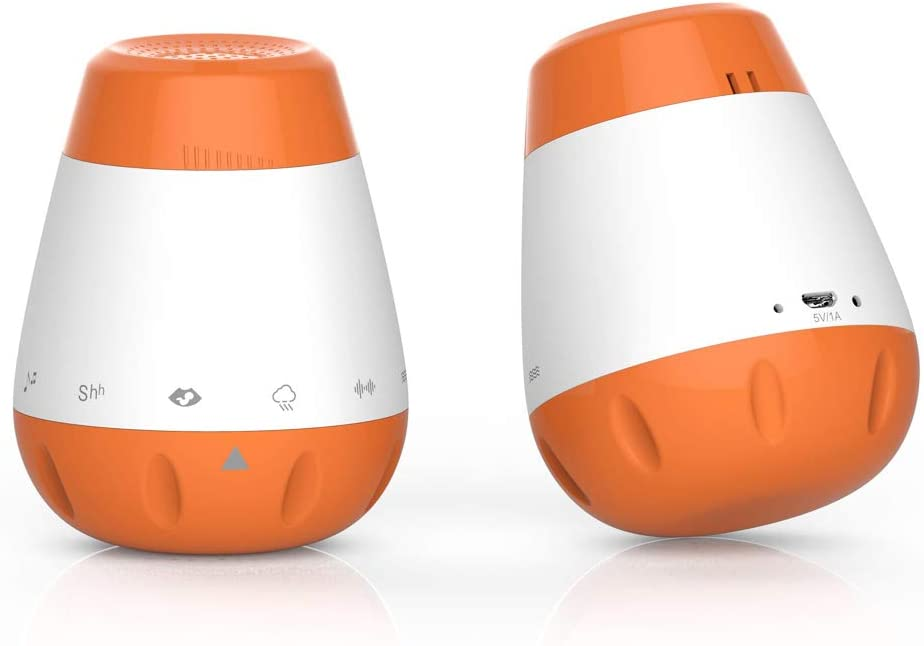 Moobeasch USB Rechargeable Portable Baby Sleep Sound Machine 6 Soothing Sounds Shush White Noise Lullaby Voice Sensor Activation Sleep Soother-Orange