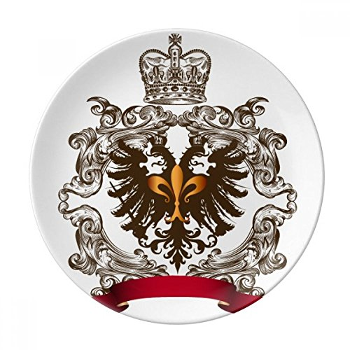 Double-headed Eagle Emblem Europe Dessert Plate Decorative Porcelain 8 inch Dinner Home