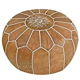 JAKANI Cuir PS1-1: Moroccan Leather Pouf, Handmade Pouffe, Leather Hassock Ottoman, Foot Stool Naturel with Beige Stitching Unstuffed Review