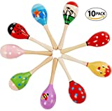 Mini (5 Inch) Wooden Fiesta Maracas Wood Rattles Egg Shaker Kids Musical Party Favor Kid Baby Shaker Sand Hammer Toy (Pack of 10)