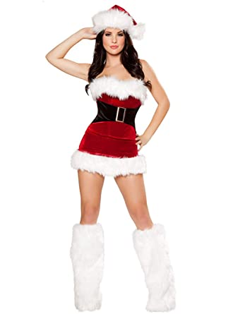 88f9bb8240468 GRACIN Womens Sexy Christmas Mrs. Santa Claus Costume, 3 Pieces Velvet  Festive Holiday Mini
