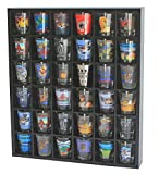 Wood Shot Glass Wall Curio Display case Cabinet Display Stand Wall Shelf - Black