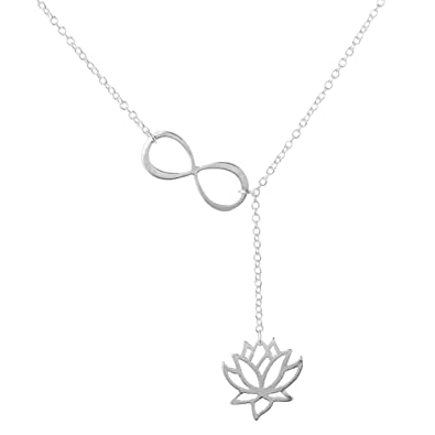 Sterling Silver Cut Out Lotus Flower Outline Pendant on Chain 16-22 Inches wEehRNJueX
