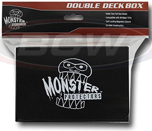 - Monster Protectors Trading Card Double Deck Box with Self-Locking Magnetic Closure - Black (Fits Yugioh, Pokemon, Magic The Gathering Cards)
