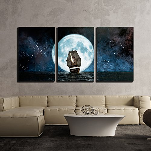 wall26 - 3 Piece Canvas Wall Art - Moon, Boat and Reflection in The Water - Modern Home Decor Stretched and Framed Ready to Hang - 16