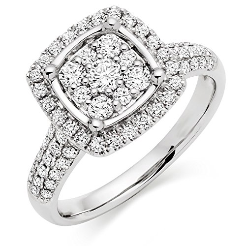 Pretty Jewellery 14K White Gold Fn 925 Silver Square Cluster Engagement Ring W/ Simulated Diamond (7) - Diamond Square Cluster Ring