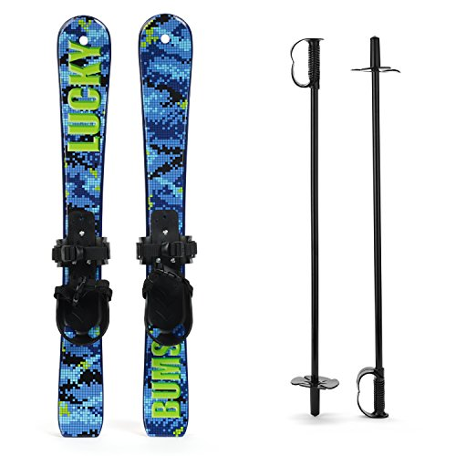 Lucky Bums Kids Beginner Snow Skis and Poles Digital Blue 70-cm