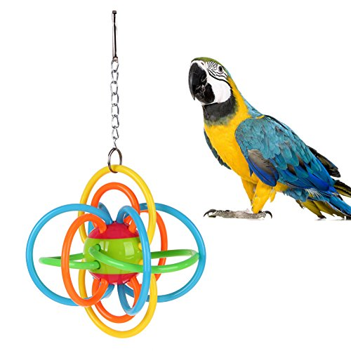 Embiofuels(TM) Colorful Silicone Ball Bird Parrot Toys Bite Hanging Cage Decor Toy for Parrots Parakeet Cockatiel Swing Pet Products ()