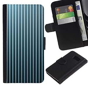 LASTONE PHONE CASE / Lujo Billetera de Cuero Caso del tirón Titular de la tarjeta Flip Carcasa Funda para Samsung Galaxy S6 SM-G920 / Stripes Wallpaper Grey Blue Black Random