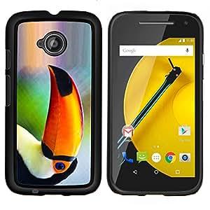 LECELL--Funda protectora / Cubierta / Piel For Motorola Moto E2 E2nd Gen -- Loro Pájaro tropical Naturaleza Naranja Selva --