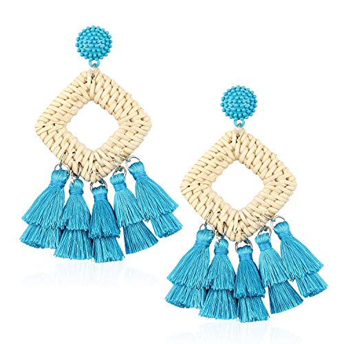 (Statement Tassel Hoop Rattan Earrings Handmade Drop Dangle for Women Gift for Mother Sister Daily Party with Gift Box KIE146 Blue)