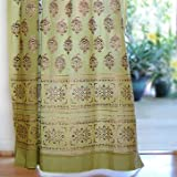 Saffron Marigold – Memories of Shalimar – Green, Blue, and Brown Floral Oriental Inspired Hand Printed – Elegant Romantic Sheer Cotton Voile Curtain Panel – Tab Top or Rod Pocket – (46 x 63) Review