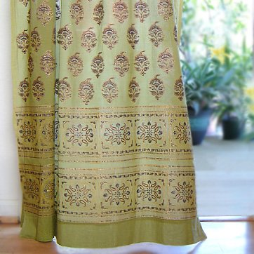 Saffron Marigold – Memories of Shalimar – Green, Blue, and Brown Floral Oriental Inspired Hand Printed – Elegant Romantic Sheer Cotton Voile Curtain Panel – Tab Top or Rod Pocket – (46 x 96) - Printed Tab Top Curtains