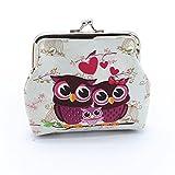 Doinshop Lady Vintage Owl Mini Wallet Hasp Purse Clutch Bag (White)