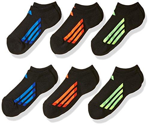adidas Kids - Boys/Girls Cushioned No Show Socks (6-Pair), Black/Solar Red/Solar Green/Solar Yellow, Large